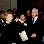 Walter Annenberg with Anne Seltzer, director of development at the time of his gift to the Peddie School