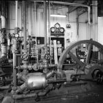 Ammonia compression machinery for refrigeration purposes at August Schell Brewing Company, 1990
