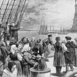 """Sketch of immigrants on deck of the steamer """"Germanic,"""" ca. 1887"""
