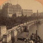 Hotel Cecil and the Hotel Savoy with Cleopatra's Needle and the embankment along the Thames River, London, England, ca. 1901