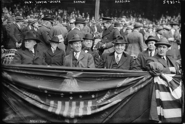 Albert Lasker with Warren Harding at Yankee Stadium, April 24, 1923
